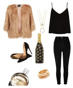 """""""Gold girl !"""" by alessandra-fly on Polyvore featuring moda, Raey, River Island, Christian Louboutin, Pinko, Kate Spade, Marc Jacobs, Kenneth Jay Lane e Chanel"""