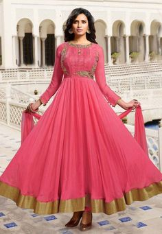 Hot pink gold anarkali, Anarkali suits, Simple anarkali, Bridal anarkali, Bridesmaid anarkali, Anarkali dress, Lehenga anarkali, Wedding anarkali, Jacket anarkali  #Anarkali #AnarkaliSuits #IndianFashion #Indian