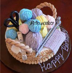 Knitting cake, make one with crochet needles Cupcakes, Cupcake Cakes, Unique Cakes, Creative Cakes, Beautiful Cakes, Amazing Cakes, Cakes Originales, Knitting Cake, Sewing Cake