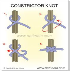Constrictor Knot - How to tie a Constrictor Knot. All about knots… Survival Knots, Survival Tips, Survival Skills, The Knot, Bushcraft, Scout Knots, Knots Guide, Rope Knots, Cool Tie Knots