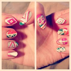 I am not a model.: More Nail Art Fun Neo South Western. DIY nails.