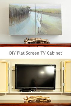 DIY project using two paintings on canvas as doors to a custom tv encl… :: Hometalk