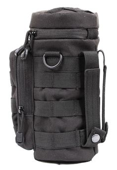 Black MOLLE Compatible Tactical Water Pouch Polyester Hydrating Bottle Pouches