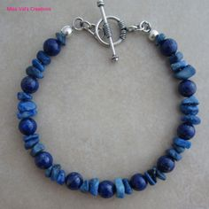 Lapis Lazuli and sterling silver bracelet.