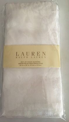 Ralph Lauren Cloth Napkins NEW 4 Paisley White Christmas Thanksgiving Holiday #RalphLauren