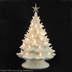 Winter White Ceramic Christmas Tree Crystal Lights Large 18 Inch Tall... ($214) ❤ liked on Polyvore featuring home, home decor, holiday decorations, crystal star ornaments, texas ornaments, star home decor, star ornaments and crystal christmas tree ornaments