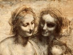 The Virgin and Child with St. Anne and John the Baptist, detail of heads of the Virgin and St. Anne, Leonardo da Vinci.