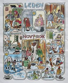 Josef Lada Calendar: January | josef lada. illustration. cal… | Flickr Typography Prints, Nocturne, Xmas Cards, Winter Time, Four Seasons, Illustrators, Folk Art, Needlework, Fairy Tales