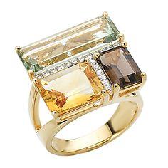 Tivolia Collection Yellow Gold Emerald Cut Three Stone Ring with Diamonds. Gemstone Jewelry, Gold Jewelry, Jewelry Rings, Fine Jewelry, Gold Earrings, Bijoux Design, Jewelry Design, Contemporary Jewellery, Modern Jewelry