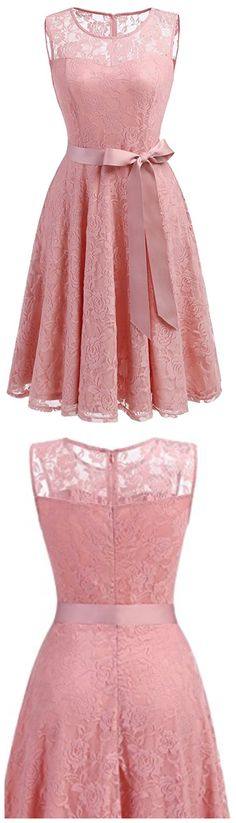 Women's Floral Lace, Dress Short Bridesmaid Dresses with Sheer Neckline,Short Prom Dresses