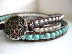 Ombre Triple Wrap Brown Leather Bracelet by JulieEllynDesigns, $48.00