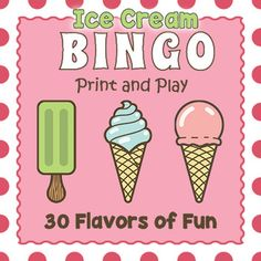 Your kiddos are going to love looking for their favorite flavor in this engaging ice cream bingo game perfect for the whole class.  Everyone enjoys reviewing spelling and vocabulary when they are having fun playing a game.  Included are 30 different ice cream calling cards and 30 unique bingo game boards.