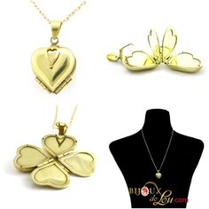 Brass Heart Accordion Locket Necklace: This rare and ingenious gold-tone brass heart accordion locket unfolds accordion style to accommodate four different photos. When open, this locket resembles a lucky four leaf clover. The heart when closed measures 7/8 x 7/8 inch. It's made of goldtone brass. This necklace or jewelry is a statement piece.