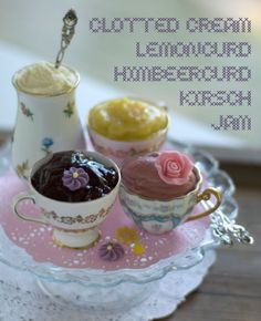 Lovely Spreads Ready for Scones, Served in Pretty Mis-Matched Tea Cups.  It's Tea Time!