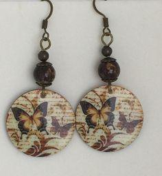 Handmade Brown Beaded Butterfly Earrings