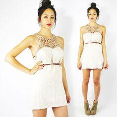 vtg 90s boho OATMEAL sheer CUTOUT EMBROIDERED CROCHET sweetheart mini dress S $38.00