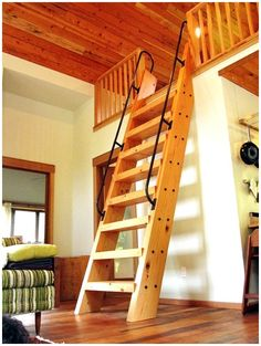 Guest Bedroom Loft with Ships Ladder. I'd love to once again be one of the … Guest Bedroom Loft with Ships Ladder. I'd love to once again be one of the kids in this place together and exploring around. Looks like a neat place to me. Attic Ladder, Attic Loft, Attic Rooms, Attic Spaces, Bedroom Loft, Loft Ladders, Attic Bathroom, Attic Office, Attic Window