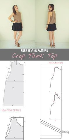 Free Sewing Pattern for an easy DIY crop tank top. Make in lots of different colours and wear with your favorite high waisted bottoms. Instructions at Sew in Love:  http://www.sewinlove.com.au/2012/04/01/free-crop-tank-top-sewing-pattern-and-tutorial/
