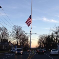 Flag lowered to half-staff on Main St. in Newtown, Conn. (Photo: NBCNews.com's John Makely) #Newtown
