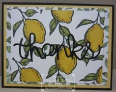 Thank You card from the Stampin Up sale-a-bration A Happy Thing stamp set. lemons