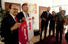 Davor Šuker, president of Croatian football federation and best Croatian football player of all times and  Jose Castro, president of Sevilla FC, have exchanged jerseys before match Rijeka-Sevilla