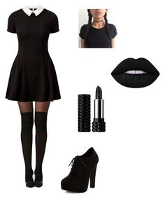"""Wednesday Addams"" by amj5678 ❤ liked on Polyvore featuring Boohoo, Cameo Rose, New Look, Kat Von D and Lime Crime"