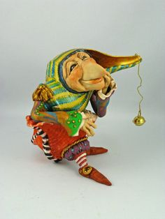 """OOAK Jester Figurine called """"Jest Thinking"""" - Colourful Whimsical Jester Sculpture - Fantasy Character"""