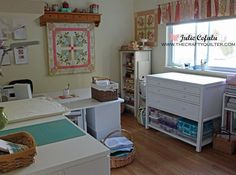 Sewing Room Tour @ The Crafty Quilter-I like the storage to the right, it could hold already cut/pinned patterns to keep them clean until ready to sew.