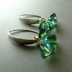 Mystic Green Quartz and Sterling Earrings by SurfAndSand on Etsy, $56.00