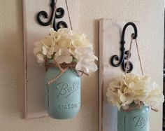 Mason Jar SconceMason Jar Wall Decor Mason by CountryHomeandHeart