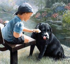 """Hermoso cuadro """"Sharing""""-Black Labrador, de Kevin Daniel."""