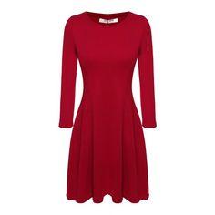 ACEVOG Women Casual Autumn Winter Dress Knee Length Midi Cotton Blend 3/4 Sleeve Slim Fitted Solid Color Dress Plus Size M-XXL