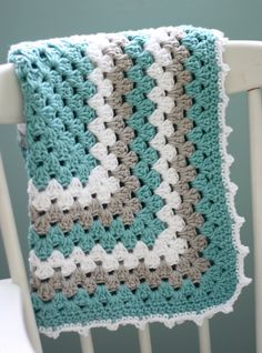 GORGEOUS COLOUR Modern Baby Blanket, Granny Square Baby Blanket, Teal and Gray Baby Blanket, Turquoise Baby Blanket.
