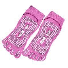 Professional Womens NonSlip Socks Full Toe Yoga Socks Pilates SocksPink *** Click on the image for additional details.