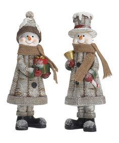 Loving this Woodland Snowman Figurine - Set of Two on #zulily! #zulilyfinds