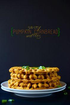 savory pumpkin cornbread waffles | vegan + gluten-free
