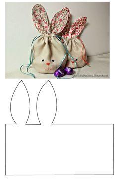 Aquí lo vuelvo a subir, pero con el patrón, para que les sea más sencillo el trabajo. Bunny Crafts, Felt Crafts, Easter Crafts, Fabric Crafts, Diy And Crafts, Crafts For Kids, Easter Fabric, Bunny Bags, Easter Projects