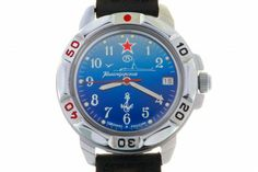 """WATCH VOSTOK KOMANDIRSKIE 431289 SUBMARINE FORCE. At the top of the watch face, at the twelve-hour point, there is a red five-pointed star. Below it – the nameplate of the watch factory """"Vostok"""". Over the axis of the hands there are stylized images of a submarine and a seagull flying alongside. Below is the """"Komandirskie"""" trade mark. #russian #mechanical #military #watches #vostok #komandirskie #navy #submarine #stare #anchor"""
