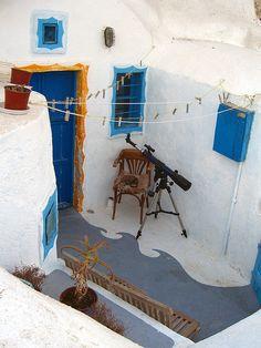 Someone's living room on Santorini Island.