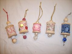 Wooden thread spools recycled into cute ornaments for your Christmas decorating. $4.00, via Etsy.
