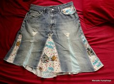 Tom and Jerry upcycled skirt...made from pillowcases and jeans.