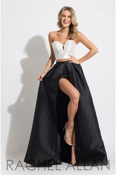 Rachel Allan Sweetheart Two-Piece Prom Dresses in Black Color for Season SPRING 2017 with Style Code - 7537 and Fabric - Mikado Two Piece Formal Dresses, Long Formal Gowns, Strapless Dress Formal, Romper With Skirt, Romper Dress, Prom Dresses 2017, Long Dresses, Sweetheart Prom Dress, Dress To Impress