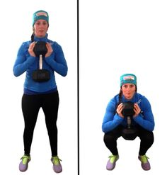 1. Goblet squats (3 sets of 10 reps. Tempo: down 2, hold 1, up 2)