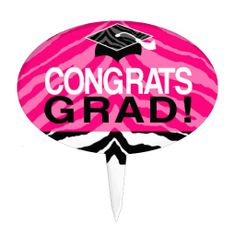 Hot Pink Zebra Congrats Girl's Graduation Party Cake Toppers or Snack Pick for the Party Food #gradparty #classof2014 #graduation @Zazzle Inc.