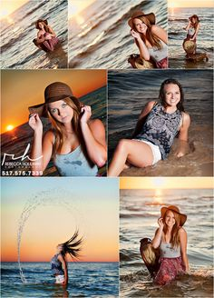 senior pictures at the beach at sunset.  girl poses by Rebecca Houlihan Photography