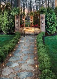 Illuminated flagstone path #landscaping #landfare #housetrends