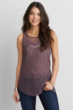 American Eagle Outfitters AEO Mix Lace Tank