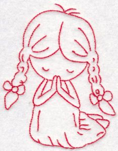 Tiny Teens Redwork 2 single machine embroidery design for instant download.