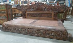 Balinese Furniture Hand Carved Wooden Rare Antique Low Day Bed Bench Bali Seat