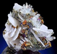 Beautiful combination of Calcite, Quartz and Chalcopyrite From Boldut Mine, Romania.  Geology